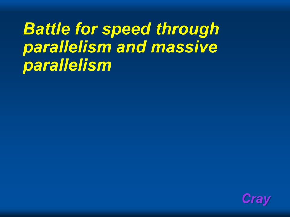 Battle for speed through parallelism and massive parallelism