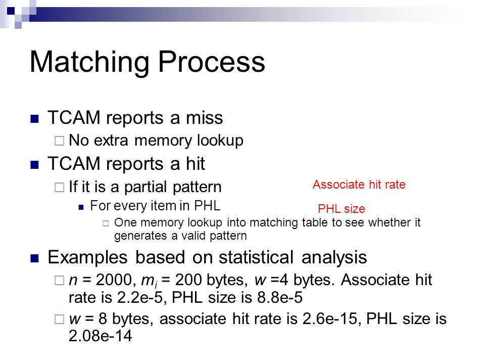 Matching Process TCAM reports a miss TCAM reports a hit