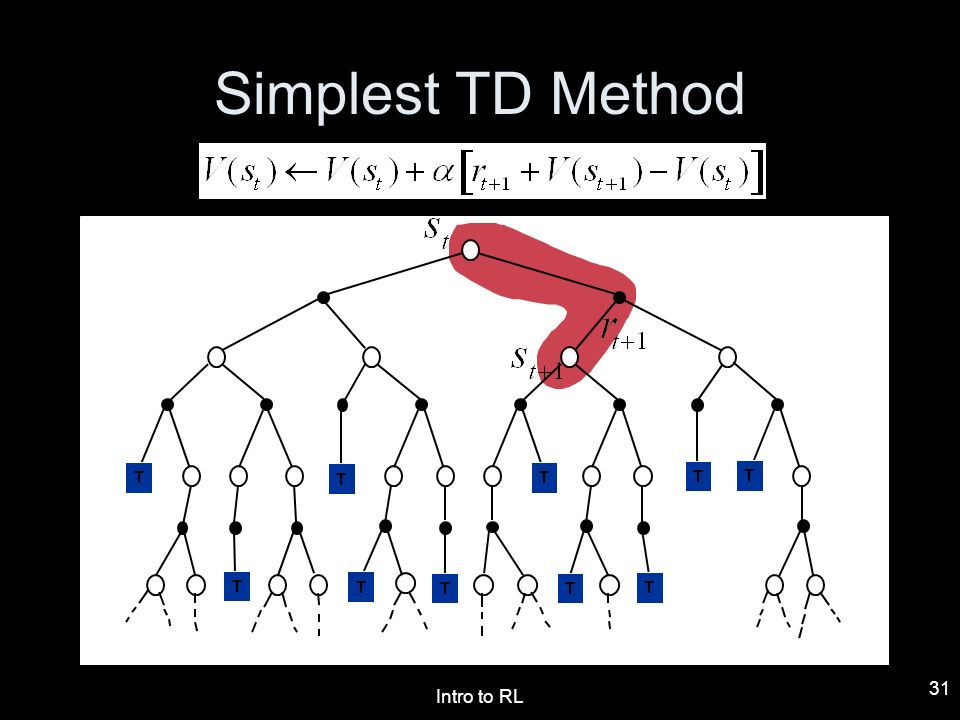 Simplest TD Method T T T T T T T T T T T Intro to RL