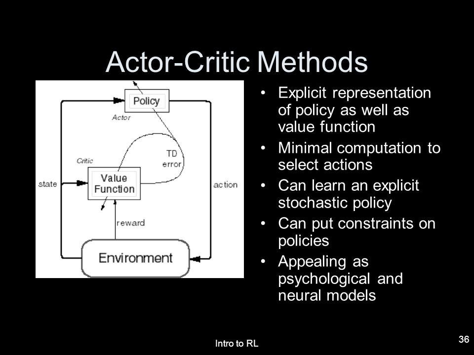 Actor-Critic Methods Explicit representation of policy as well as value function. Minimal computation to select actions.