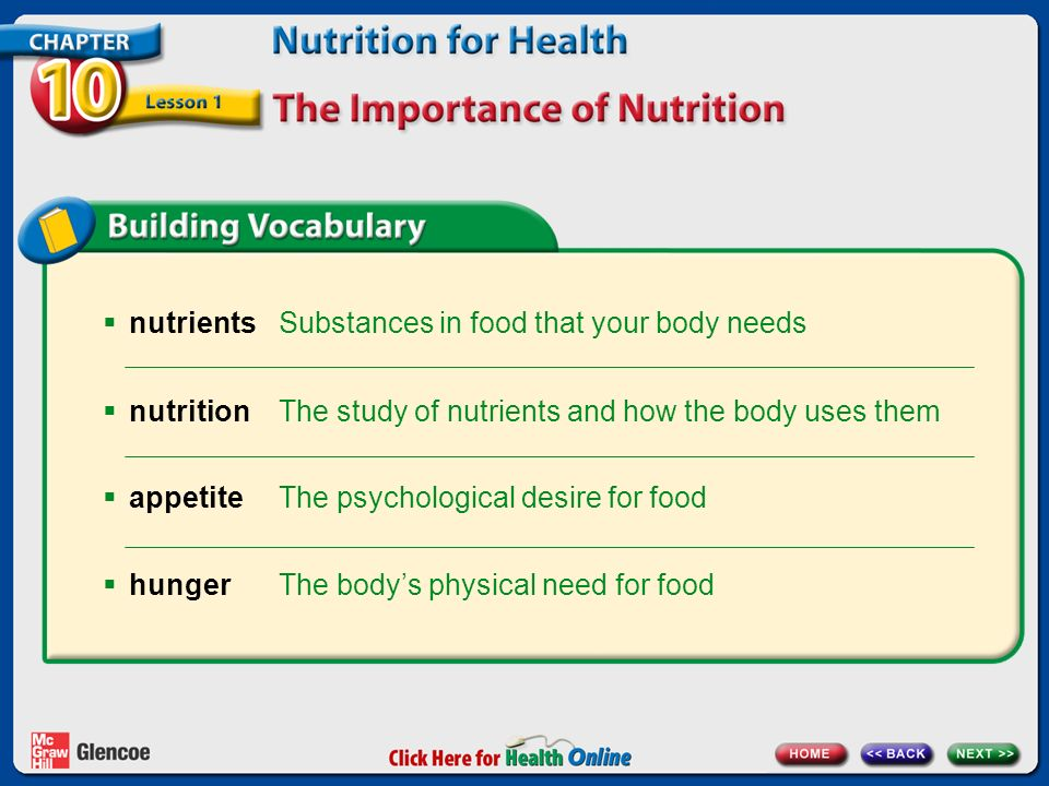 Chapter 10 Nutrition For Health Lesson 1 The Importance Of