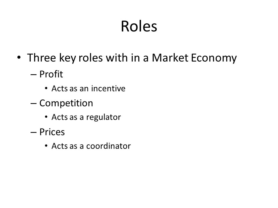 what is the role of profit in a market economy