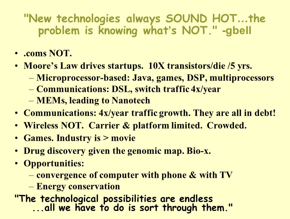 New technologies always SOUND HOT…the problem is knowing what's NOT
