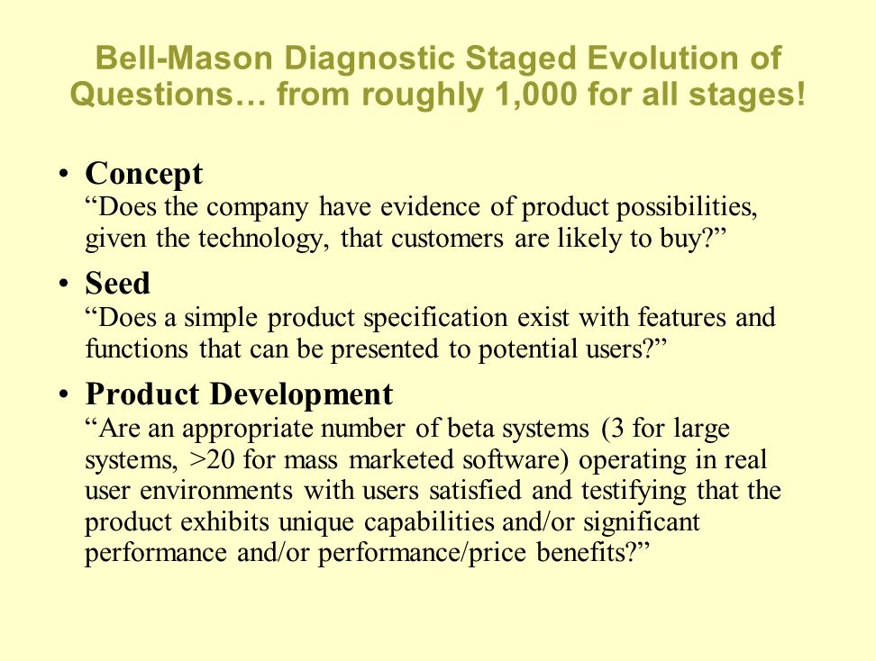 Bell-Mason Diagnostic Staged Evolution of Questions… from roughly 1,000 for all stages!