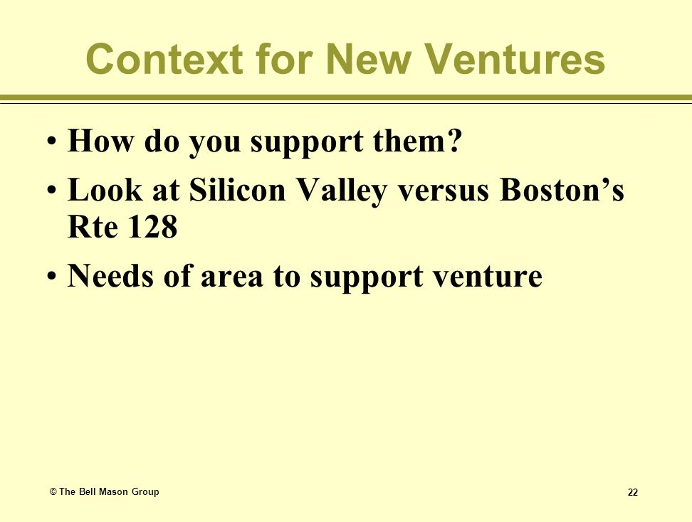 Context for New Ventures