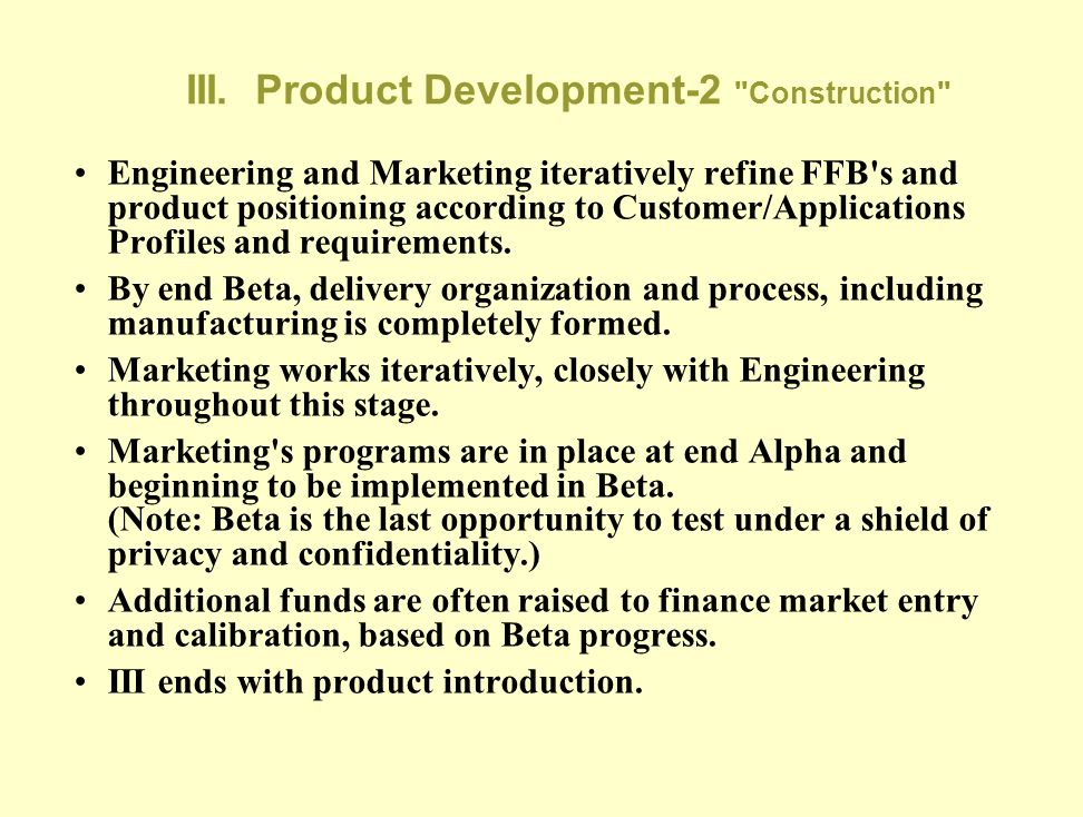 III. Product Development-2 Construction