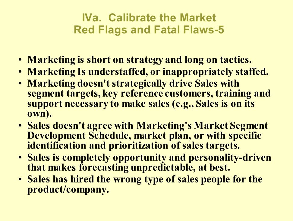 IVa. Calibrate the Market Red Flags and Fatal Flaws-5
