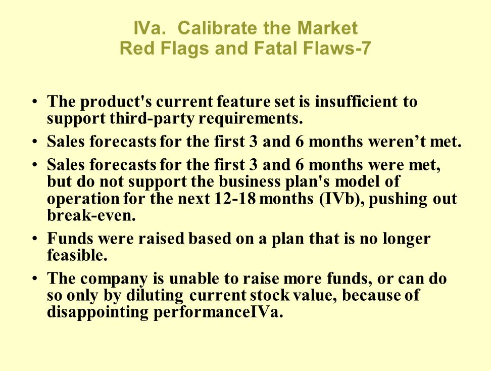IVa. Calibrate the Market Red Flags and Fatal Flaws-7