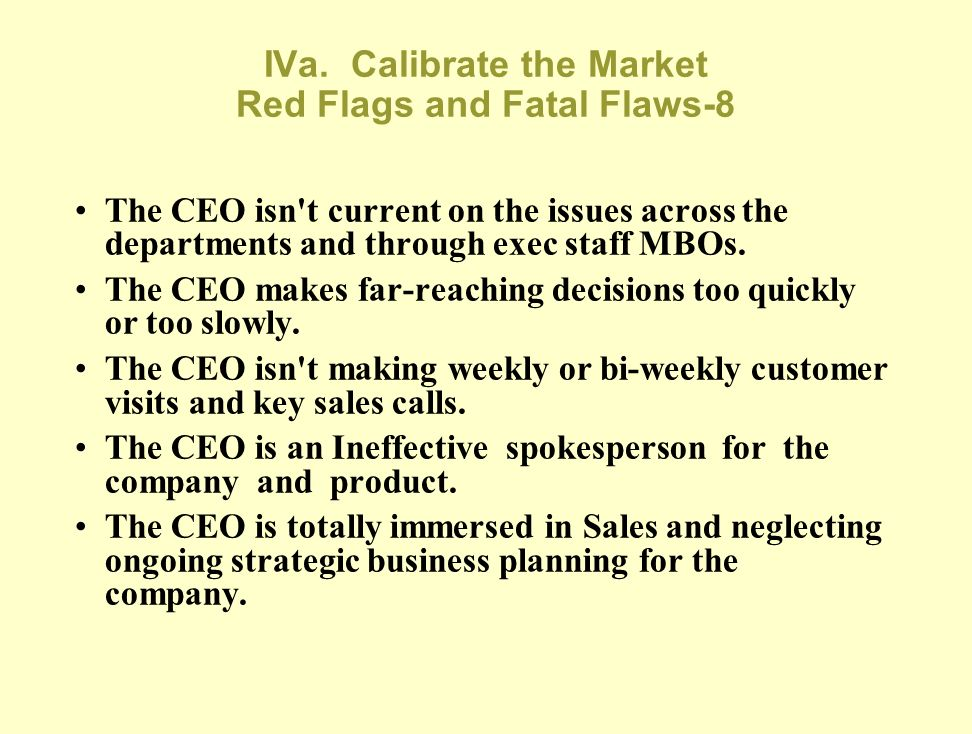 IVa. Calibrate the Market Red Flags and Fatal Flaws-8