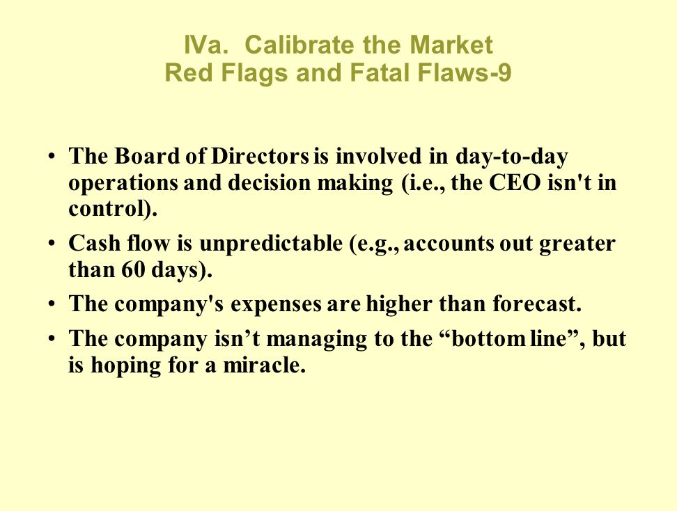 IVa. Calibrate the Market Red Flags and Fatal Flaws-9