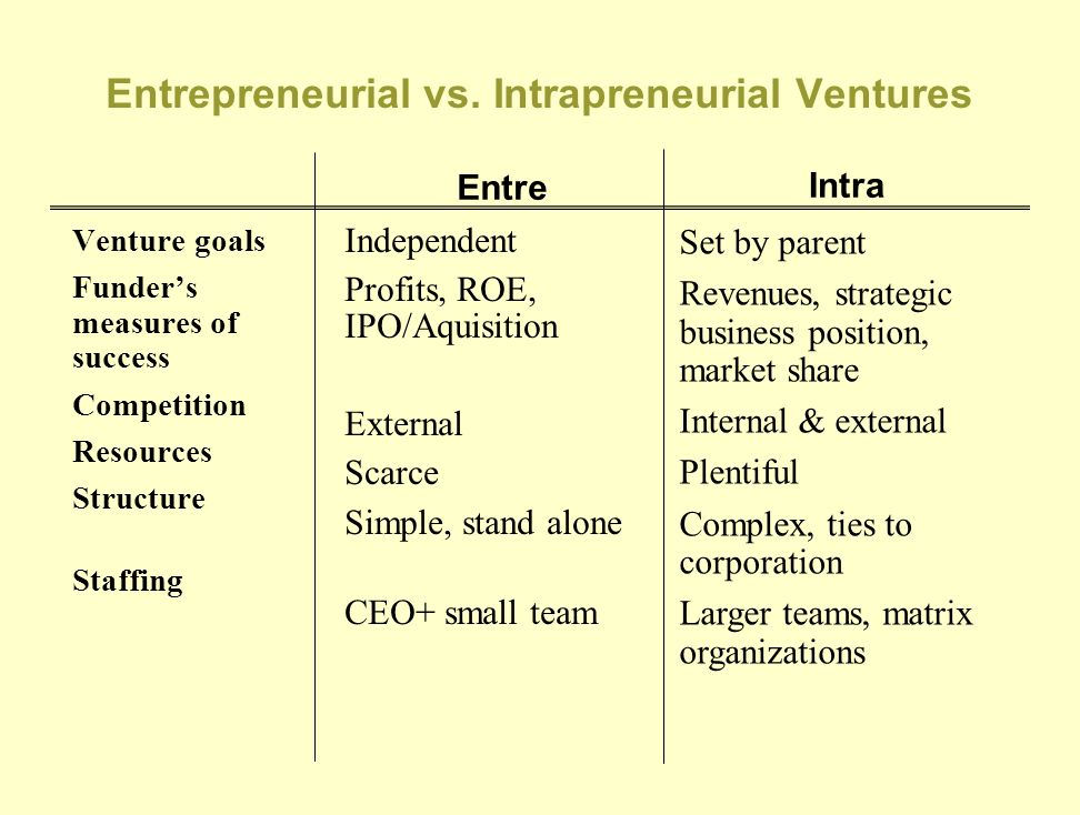 Entrepreneurial vs. Intrapreneurial Ventures