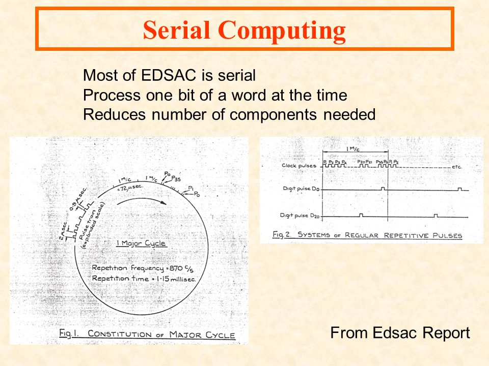 Serial Computing Most of EDSAC is serial