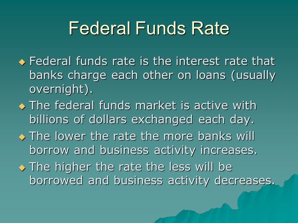 Federal Funds Rate Federal funds rate is the interest rate that banks charge each other on loans (usually overnight).