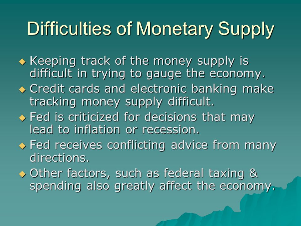 Difficulties of Monetary Supply