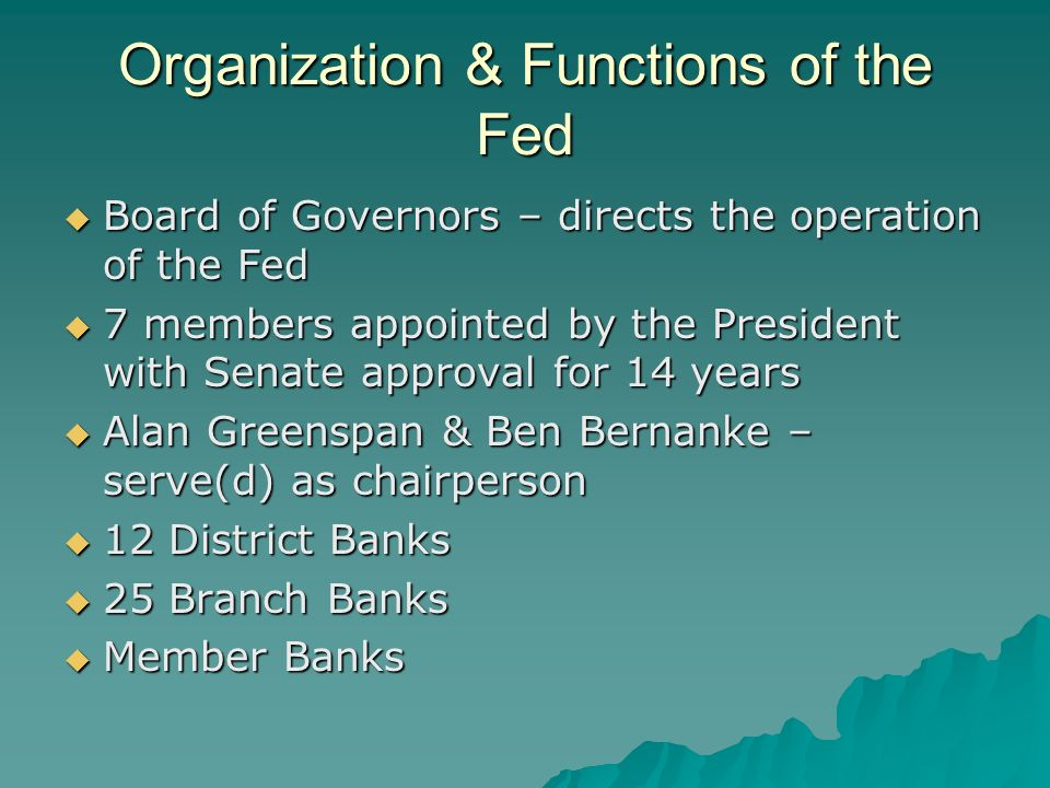Organization & Functions of the Fed