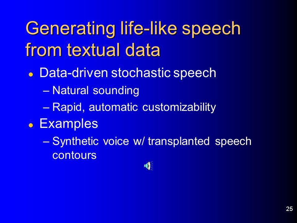 Generating life-like speech from textual data