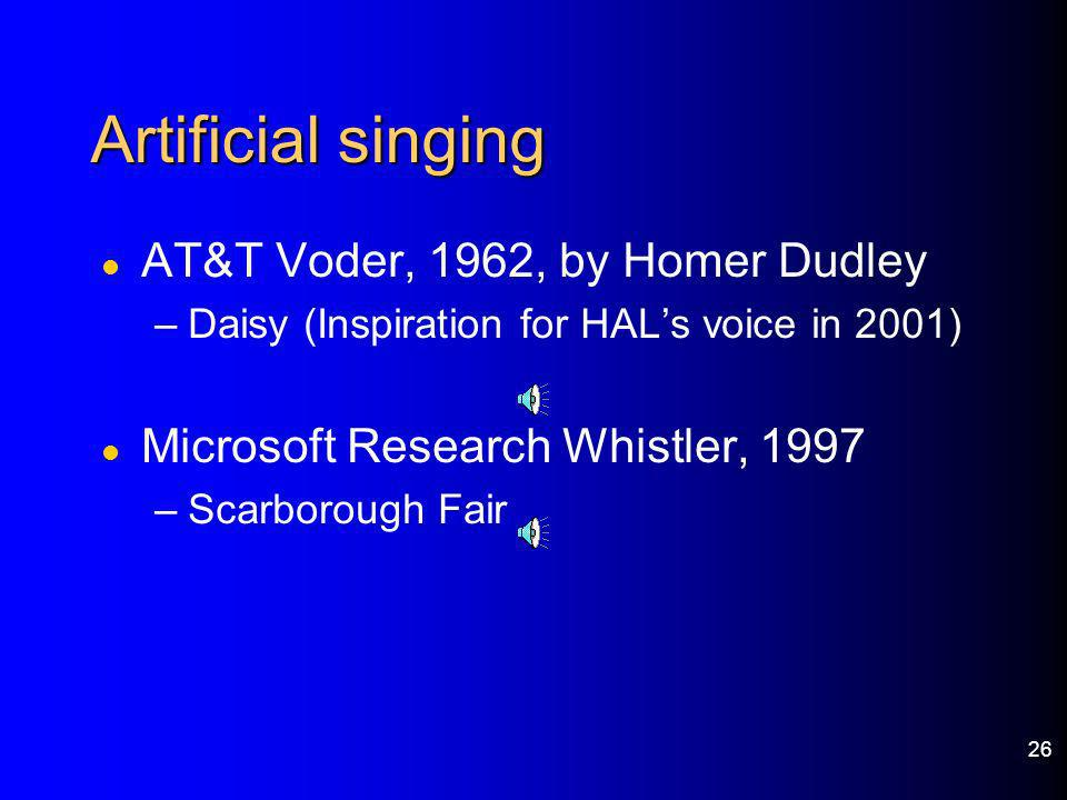 Artificial singing AT&T Voder, 1962, by Homer Dudley