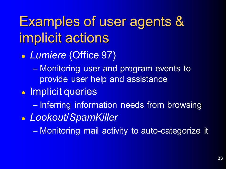 Examples of user agents & implicit actions