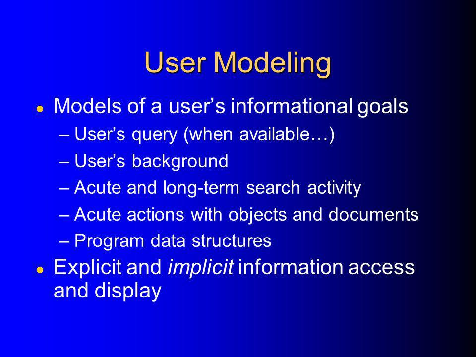 User Modeling Models of a user's informational goals