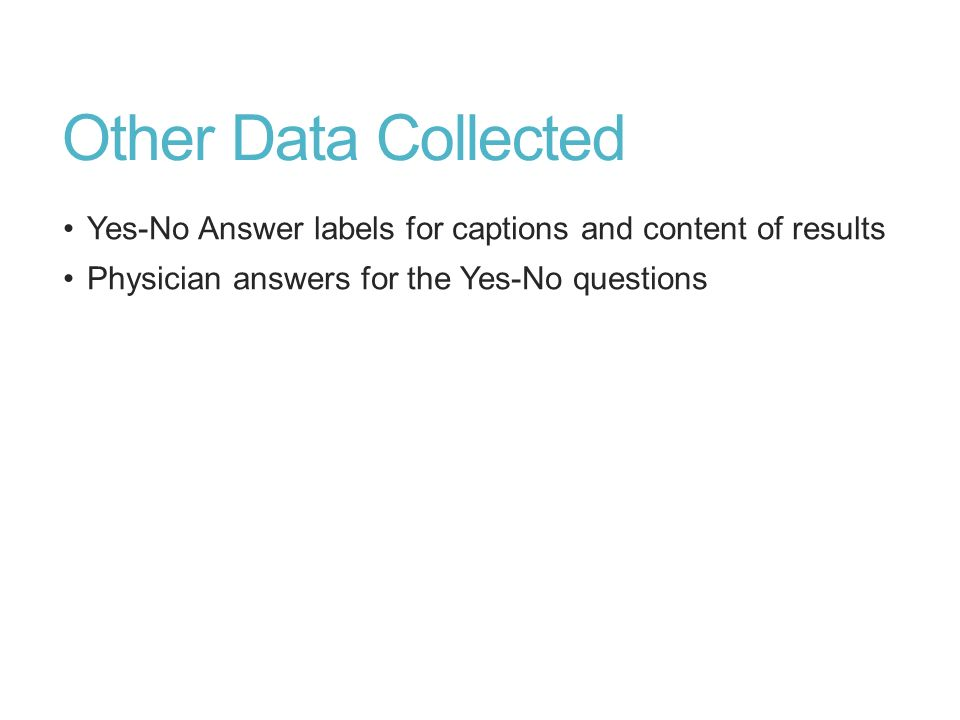 Other Data Collected Yes-No Answer labels for captions and content of results.