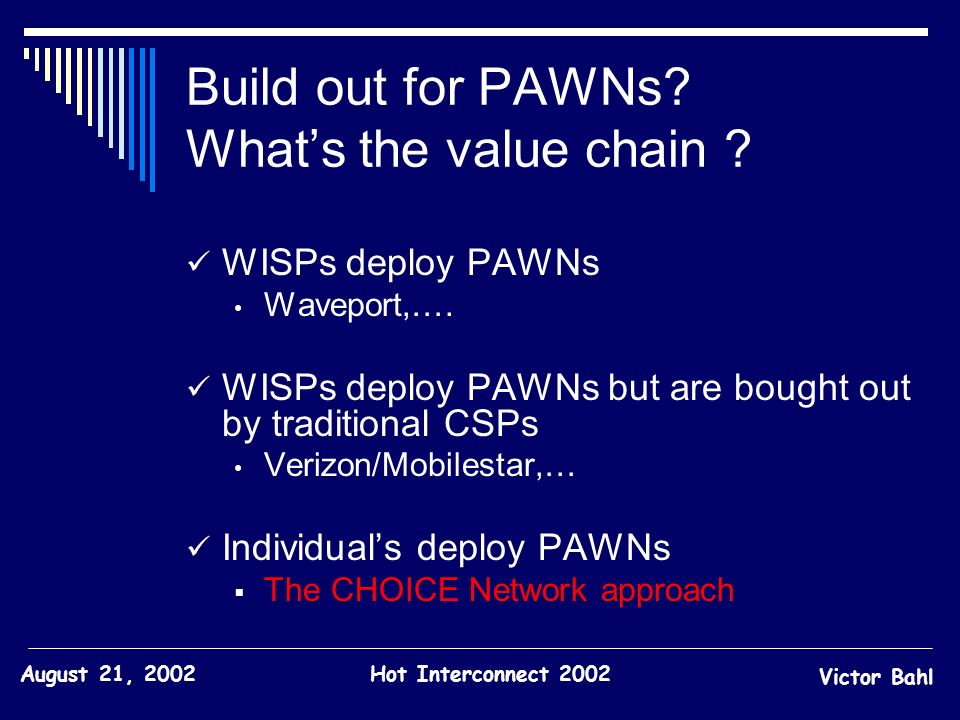 Build out for PAWNs What's the value chain