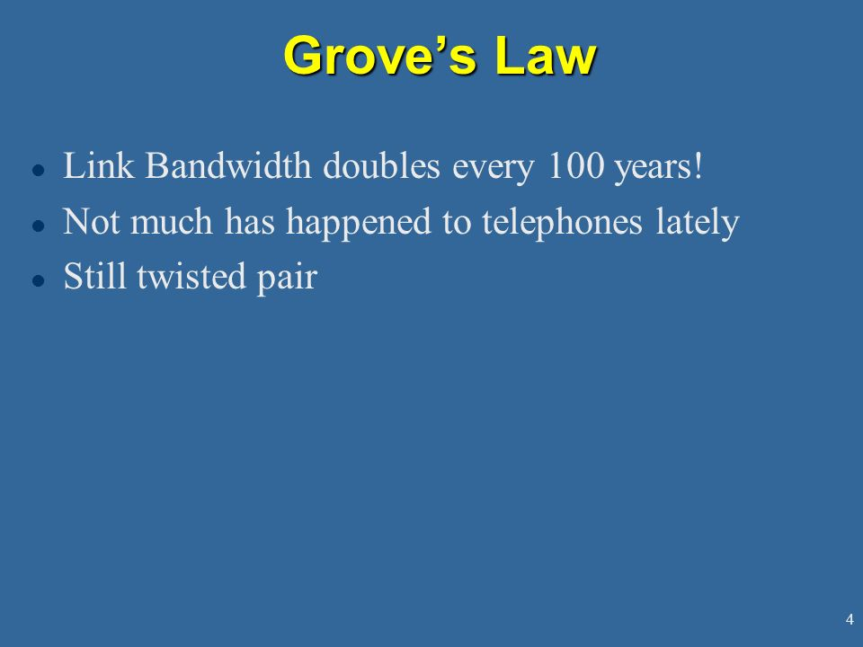 Grove's Law Link Bandwidth doubles every 100 years!