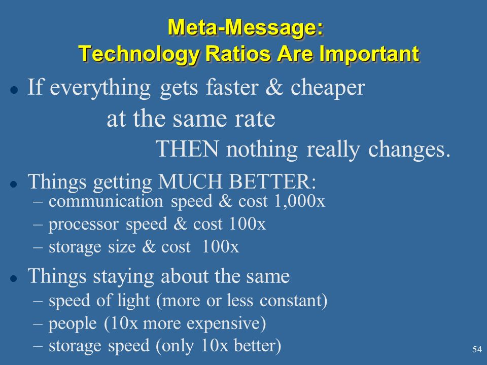Meta-Message: Technology Ratios Are Important