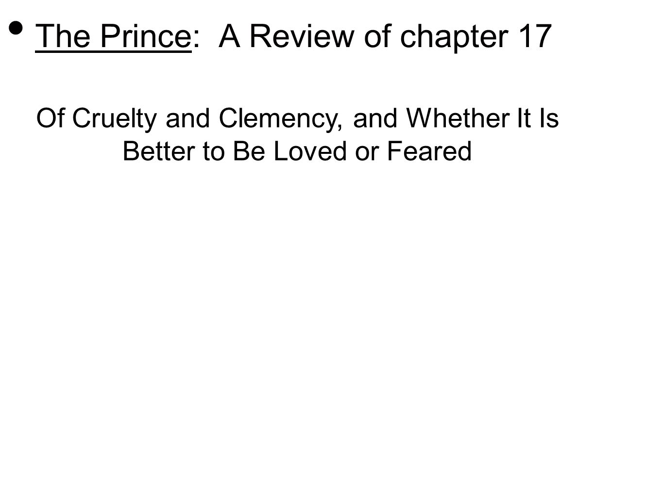 the prince machiavelli chapter 17