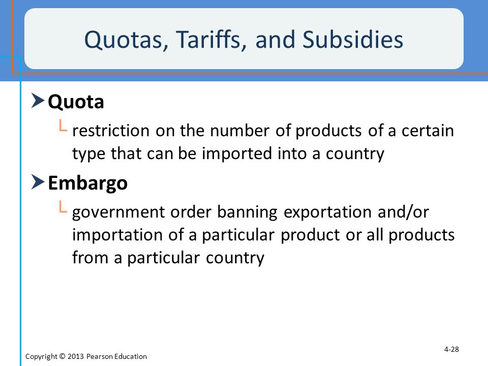 Quotas, Tariffs, and Subsidies