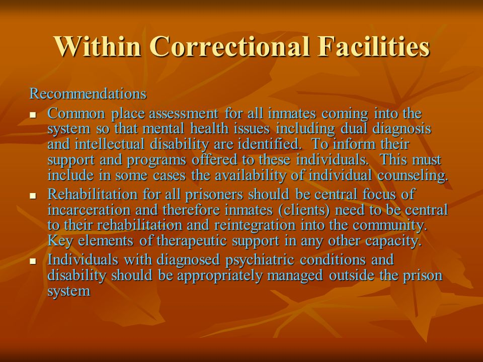 Within Correctional Facilities