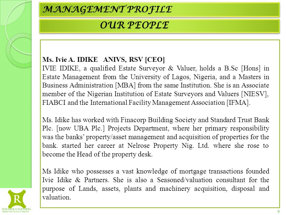 Agency - Valuation - Appraisals – Management – Advisory