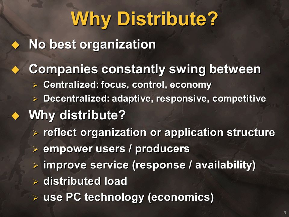 Why Distribute No best organization