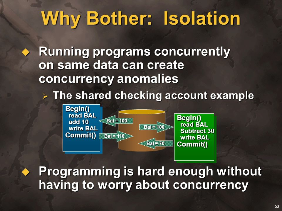 Why Bother: Isolation Running programs concurrently on same data can create concurrency anomalies.