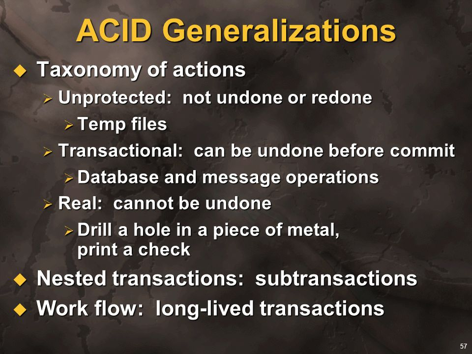ACID Generalizations Taxonomy of actions