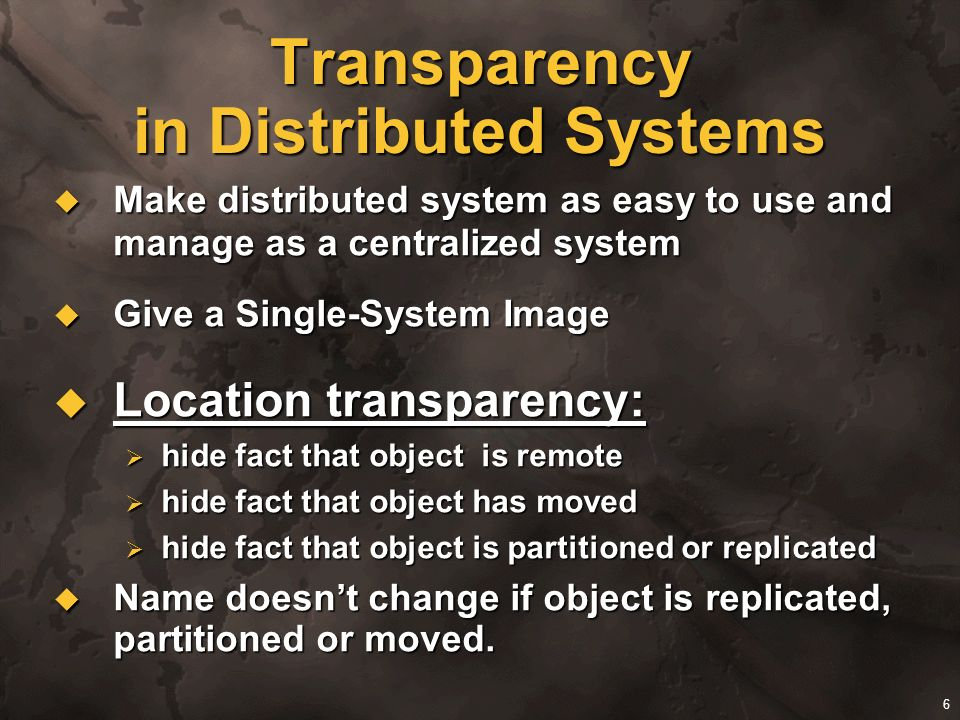 Transparency in Distributed Systems