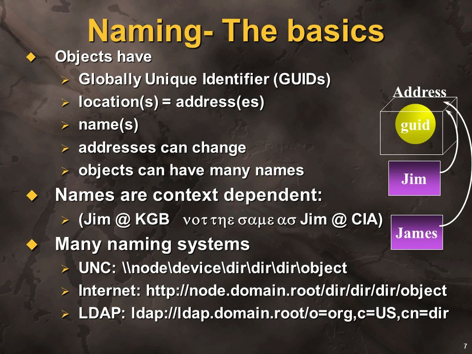 Naming- The basics Names are context dependent: Many naming systems