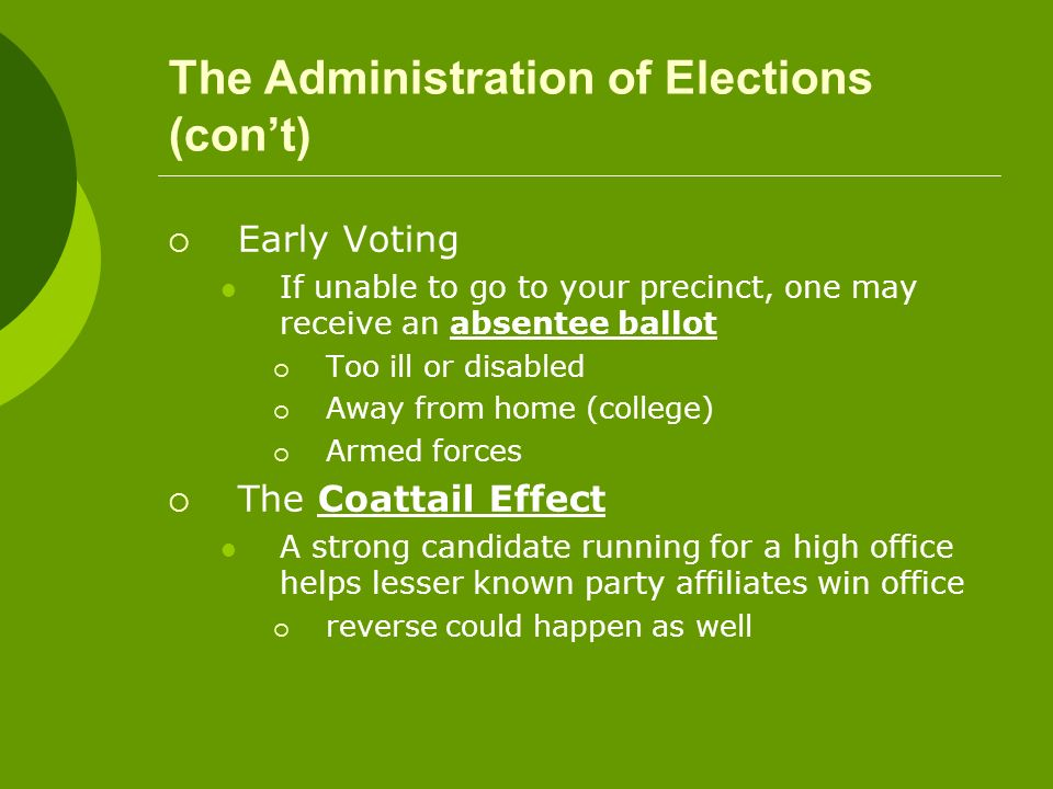 The Administration of Elections (con't)