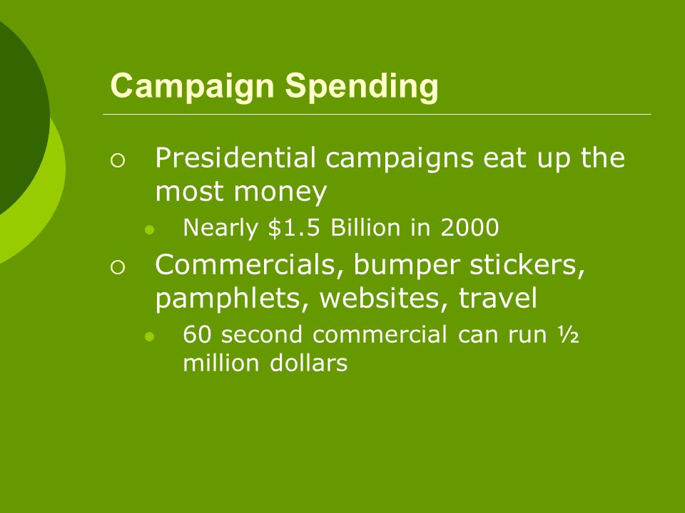 Campaign Spending Presidential campaigns eat up the most money