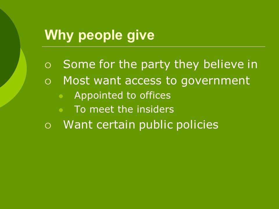 Why people give Some for the party they believe in