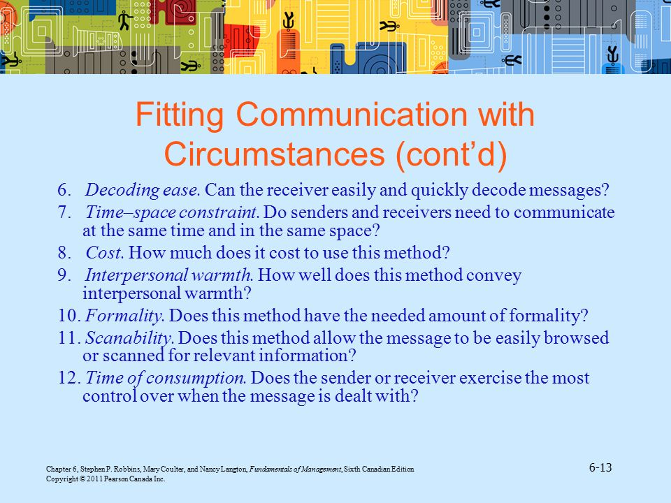 Fitting Communication with Circumstances (cont'd)