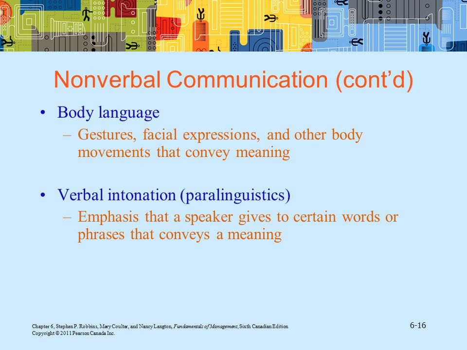 Nonverbal Communication (cont'd)