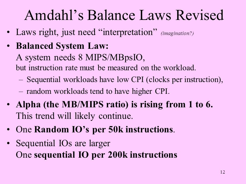 Amdahl's Balance Laws Revised