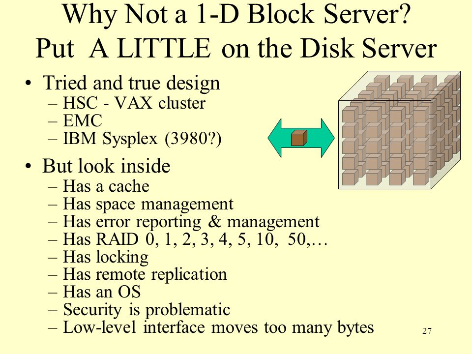 Why Not a 1-D Block Server Put A LITTLE on the Disk Server