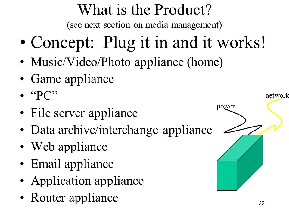 What is the Product (see next section on media management)