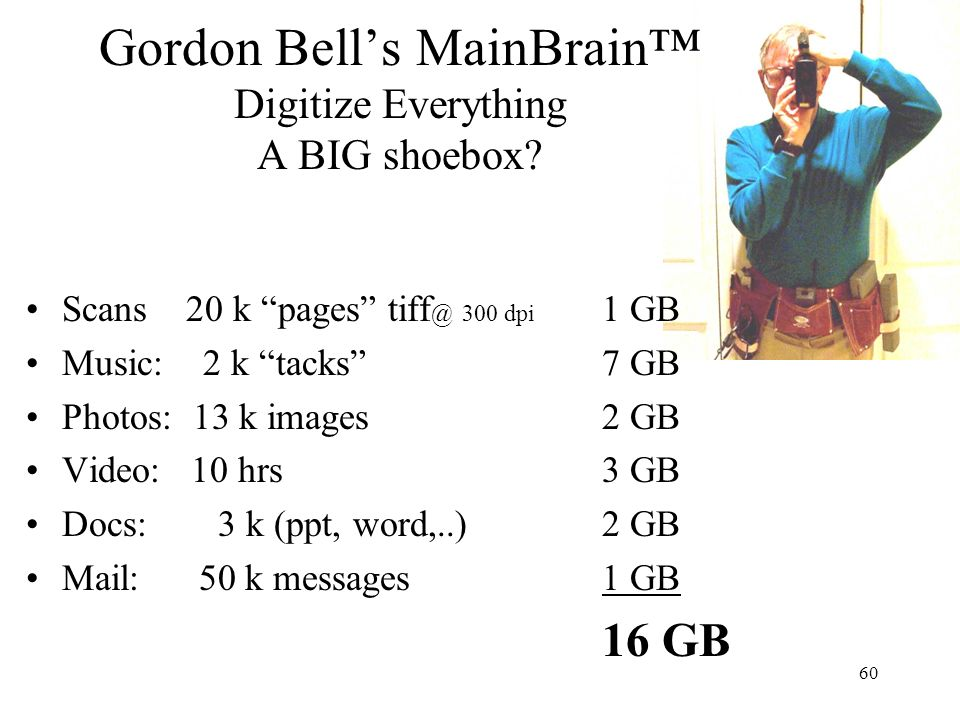 Gordon Bell's MainBrain™ Digitize Everything A BIG shoebox