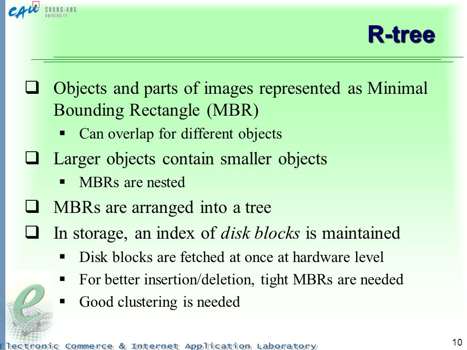 R-tree Objects and parts of images represented as Minimal Bounding Rectangle (MBR) Can overlap for different objects.