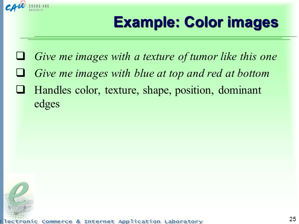 Example: Color images Give me images with a texture of tumor like this one. Give me images with blue at top and red at bottom.