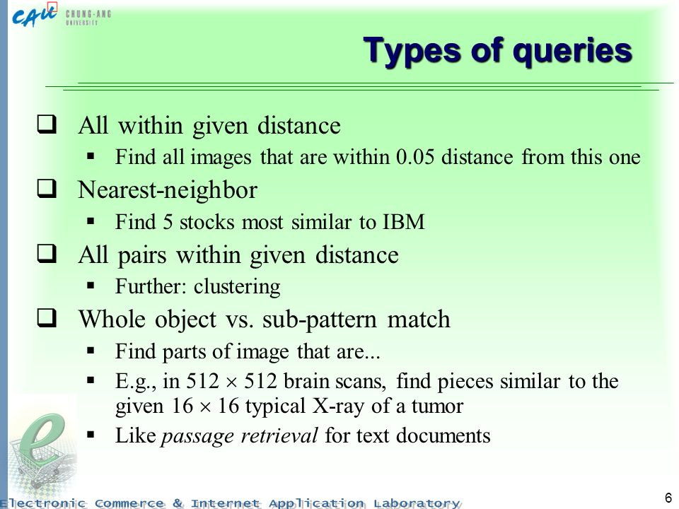 Types of queries All within given distance Nearest-neighbor
