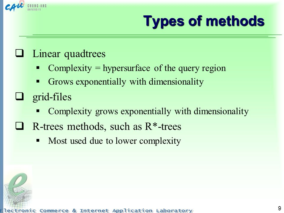 Types of methods Linear quadtrees grid-files