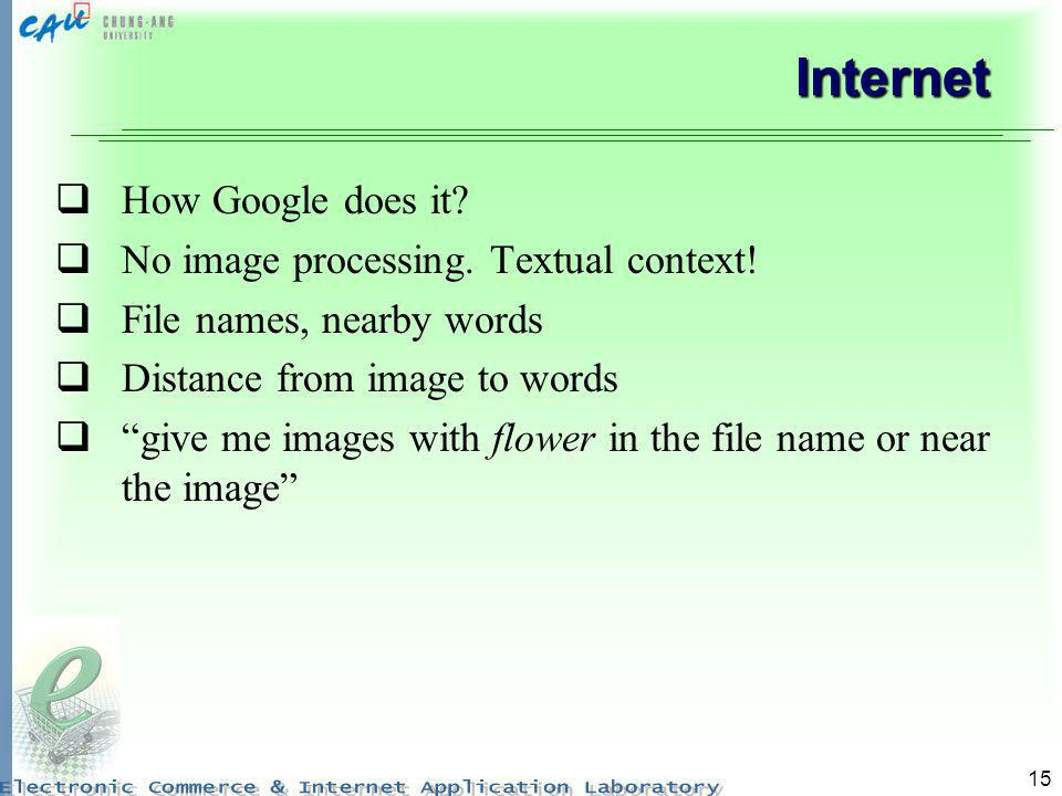 Internet How Google does it No image processing. Textual context!